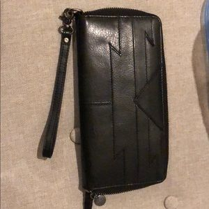 Black leather wallet wristlet
